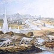 1854 Crystal Palace Dinosaurs By Baxter 2 Poster