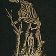 1868 Waterhouse Hawkins & Hadrosaur Gilt Poster