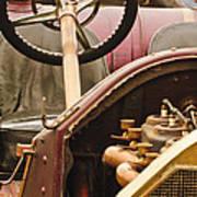 1914 Mercer Model 35 J Raceabout Engine And Steering Wheel Poster