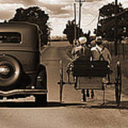 1934 Chevy And Today's Horse And Buggy By Randall Branham Poster