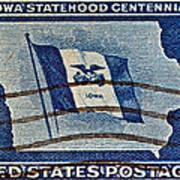 1946 Iowa Statehood Stamp Poster