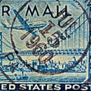 1946 Oakland Bay Bridge Air Mail Stamp Poster