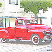 1953 Red Chevy Pickup Truck Poster