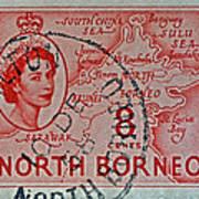 1954 North Borneo Stamp Poster