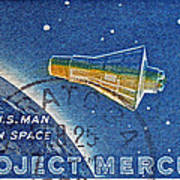 1962 Man In Space Stamp Poster