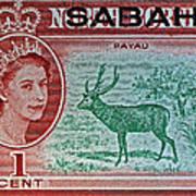 1964 North Borneo Sabah Stamp Poster
