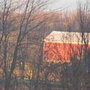 1nov2012 Sunrise On Red Barn Poster