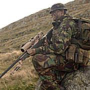 A British Soldier Armed With A Sniper Poster