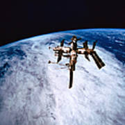 A Space Station In Orbit Above The Earth Poster by Stockbyte