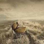 Abandoned Antique Baby Carriage In Field Poster