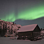 Aurora Borealis Over A Cabin, Northwest Poster