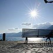 Bench In Backlight Poster