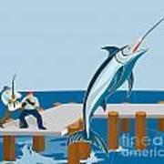 Blue Marlin Fish Jumping Retro Poster