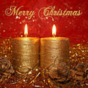 2 Candles Christmas Card Poster