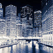 Chicago River Buildings At Night Poster