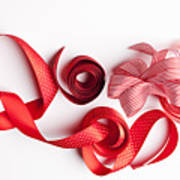 Close Up Of Decorative Red Ribbons Poster