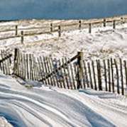 Drifting Snow Along The Beach Fences At Nauset Beach In Orleans  Poster