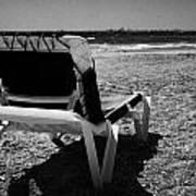 Empty Sun Lounger On Cyprus Tourist Organisation Municipal Beach In Larnaca Bay Republic Of Cyprus Poster
