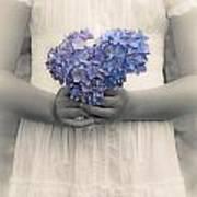 Girl With Hydrangea Poster by Joana Kruse