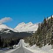 Highway In Winter Through Mountains Poster