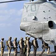 Marines Board A Ch-46e Sea Knight Poster