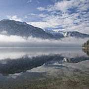 mist burning off Lake Bohinj Poster