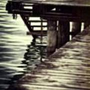 Old Wooden Pier With Stairs Into The Lake Poster
