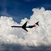 Passenger Jet And Clouds Poster