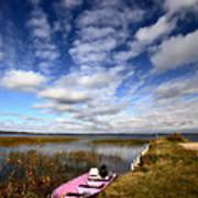 Pink Boat In Scenic Saskatchewan Poster