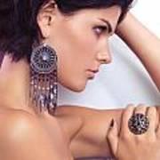 Portrait Of A Beautiful Woman Wearing Jewellery Poster
