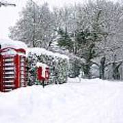 Red Phonebox In The Snow Poster