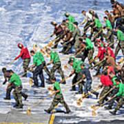 Sailors Perform A Flight Deck Wash Poster