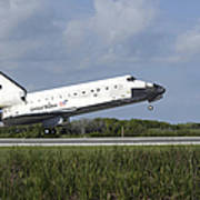 Space Shuttle Discovery Lands On Runway Poster