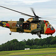 The Sea King Helicopter Of The Belgian Poster