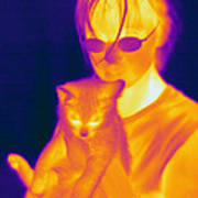 Thermogram Of A Girl And Cat Poster