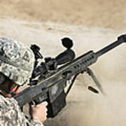 U.s. Army Soldier Fires A Barrett M82a1 Poster
