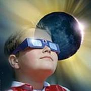 Watching Solar Eclipse Poster by Detlev Van Ravenswaay