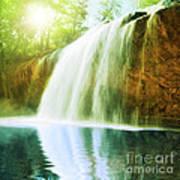 Waterfall Pool Poster