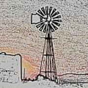 Water Pump Windmill Poster