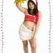 Asian Woman With Santa Hat  Poster