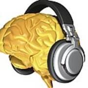 Brain With Headphones, Artwork Poster