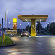Estonian Gas Station At Night Poster