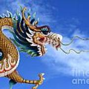Giant Golden Chinese Dragon Poster by Anek Suwannaphoom