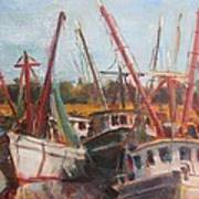3 Shrimpers At Dock Poster