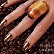 Woman Hands In Coffee Beans Poster