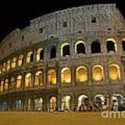 Coliseum Illuminated At Night. Rome Poster by Bernard Jaubert