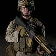 Portrait Of A U.s. Marine Wearing Night Poster