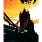 Sunset At Tower Brigde Poster
