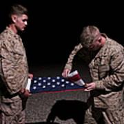 U.s. Marines Fold The American Flag Poster
