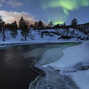 Aurora Borealis Over Tennevik River Poster